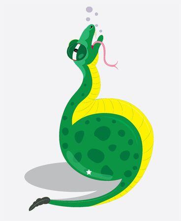 The snake ate orange. Illustration.