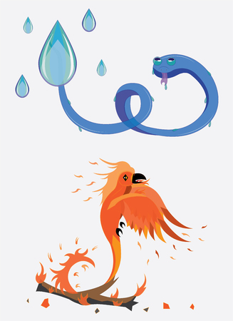 orange snake: Snake from water, a bird from fire. Illustration