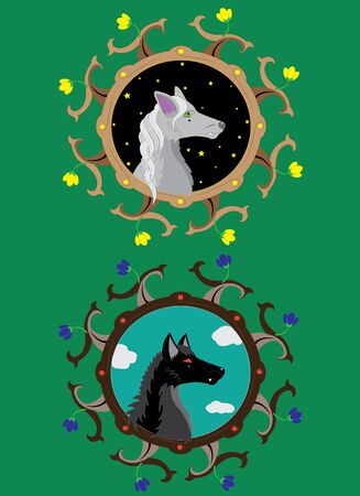 black wolf: Gray she-wolf and Black wolf.  Illustration. vector.