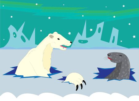 victim: The polar bear hunts on a seal.
