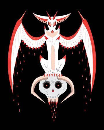 sits: The bloody garguliya sits on a skull illustration