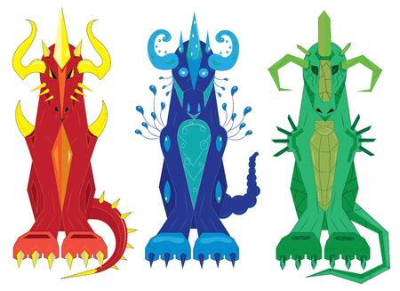 fire and water: Three dragons of a totem fire, water and stone Illustration