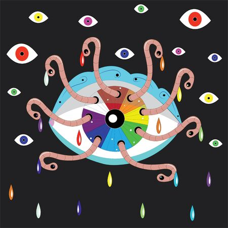 iridescent: The fantastic, iridescent eye eaten by worms Illustration