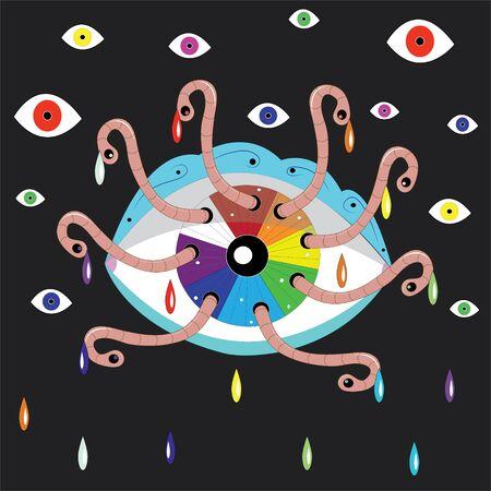 eaten: The fantastic, iridescent eye eaten by worms Illustration