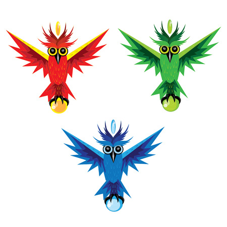 head stones: Three owls with stones in paws and on the head