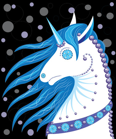 pearls and threads: Horse with a horn similar to a doll Illustration
