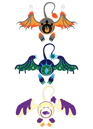 fire and ice: Three eyes of elements with wings stickers