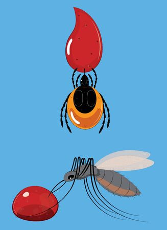 The tick and mosquito to suck blood Illustration