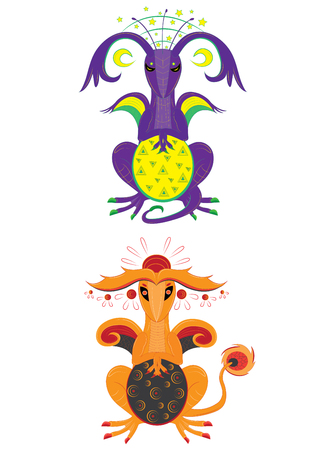 Dragon of the moon and dragon of the sun
