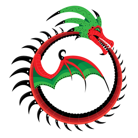 The dragon has a curved up in the ring and bites a tail