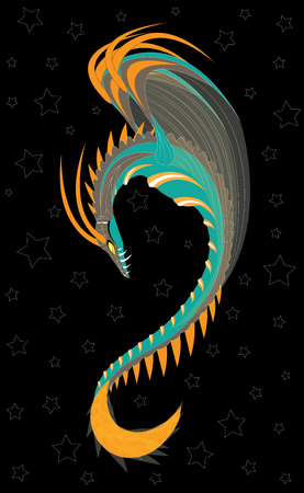 Space star winged snake against the background of space