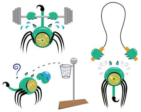 Set of three stickers, eyes athletes illustration.
