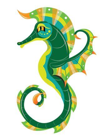 Beautiful green sea horse
