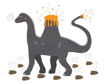 Brontosaur with a volcano on a back Illustration