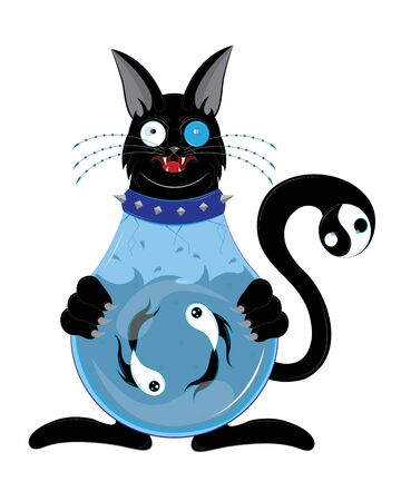 Black cat with a body an aquarium.