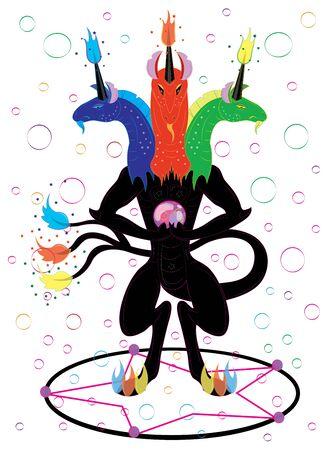 Black three headed unicorn magician Illustration