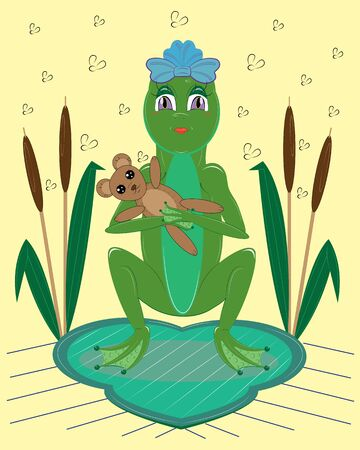 Frog woman with a toy bear Illustration
