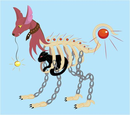 Dog a cat with a cat Illustration
