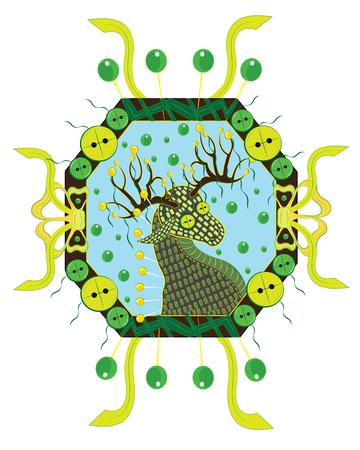 Deer from woolen threads in a frame