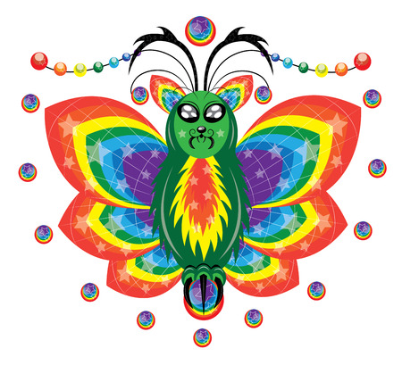Butterfly with a rainbow in wings