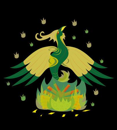 Green acid bird on fire Illustration