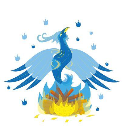 Beautiful blue ice bird on fire