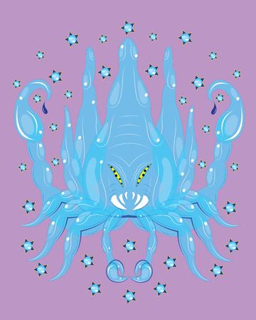 Poisonous ice scorpion on purple background, vector illustration. Ilustrace