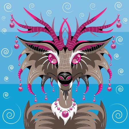 Fantastic animal deer similar to a polecat Illustration