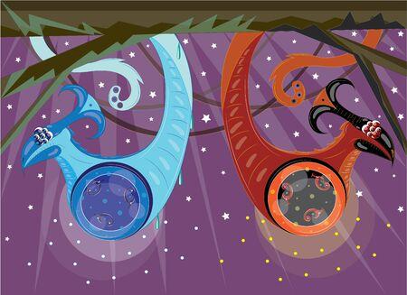 氷と炎の概念ベクトルのような2つのエイリアンヘビ  イラスト・ベクター素材
