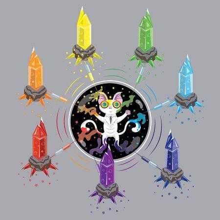 White kitten and rainbow crystals vector illustration