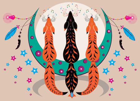 Three singing lunar foxes Illustration