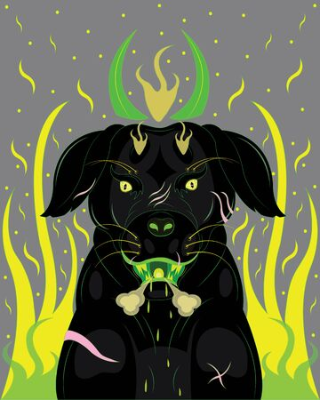 Black dog demon Vector illustration.