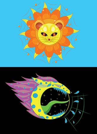 Sun lion and wolf moon. Illustration
