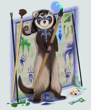 Original filename: Polecat a female with a magic brush Stock Photo