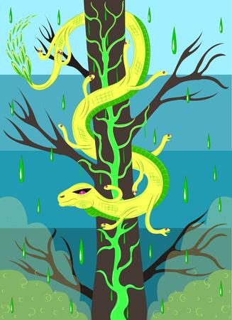 Venomous snake on an acid tree icon. Illustration