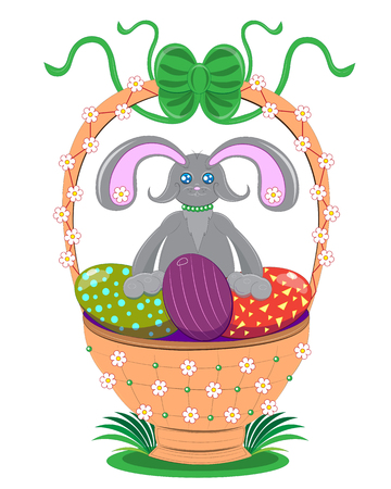 Easter rabbit with a basket of eggs Illustration