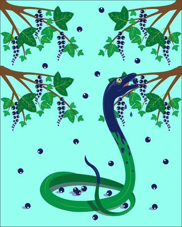 The green snake eats black currant.