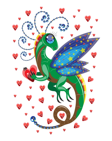 Little dragon of love against the background of red hearts