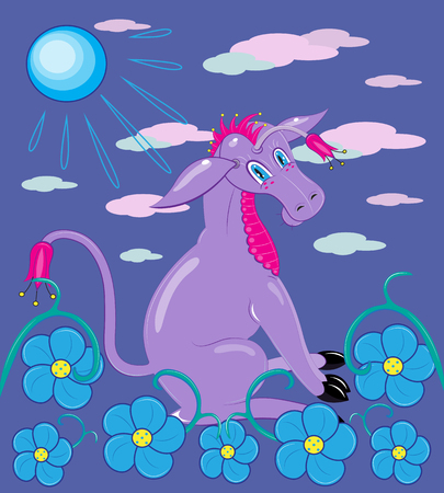 Donkey of violet color among flowers