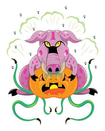 The pig eats orange pumpkin