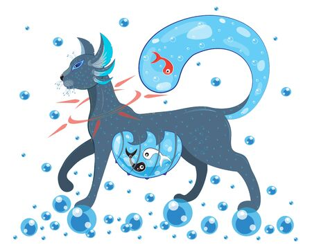 Fairytale cat with yin and yang fish.