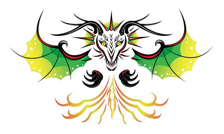 Horned black dragon with green wings breathes fire Ilustração