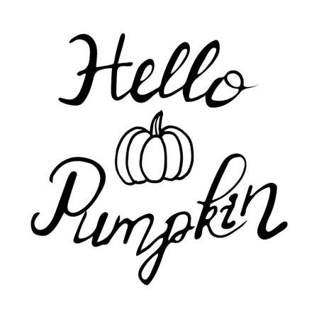 Hello Pumpkin hand lettering, brush calligraphy isolated on white background.