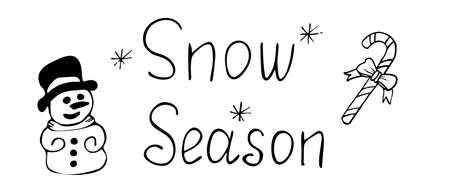 Snow season vector illustration. Lettering phrase Snow season. Handwritten modern brush lettering. Hand drawn design elements.