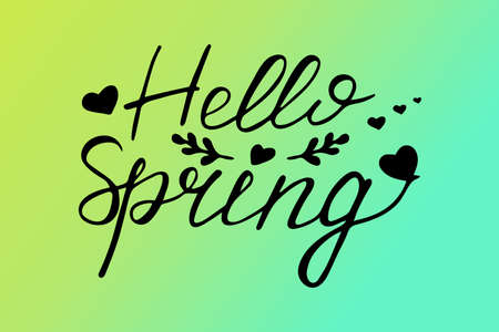 Vector lettering Hello spring with decorative flower elements. Lettering spring season for greeting card, invitation template and web design Çizim