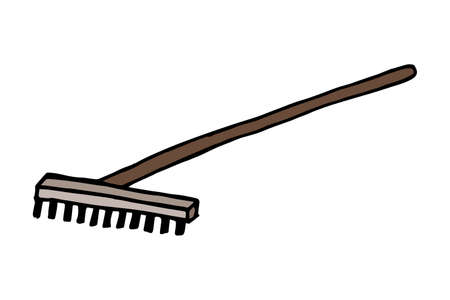 Sketch of a rake. Rakes with a long handle. Garden tools. Doodle illustration. Isolated on white background. Easy to change color.