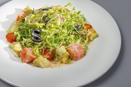 Salmon Salad In A White Plate