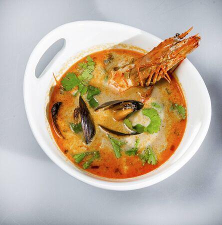 Thai Seafood Soup Tom Yum Kung Stock Photo