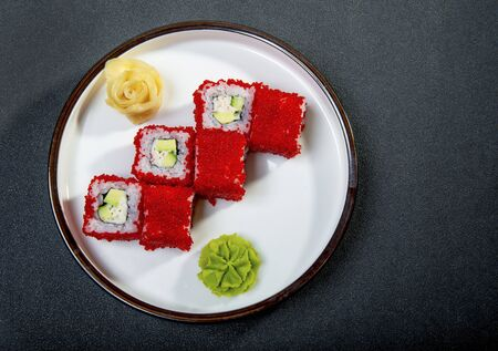 California Rolls With Ginger And Wasabi 스톡 콘텐츠 - 127345026
