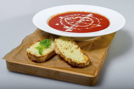 Russian Beet Soup Borsch With A Target Made Of Sour Cream Stock Photo
